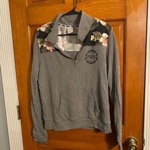 Victoria secret PINK quarter zip Gray with floral
